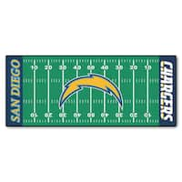 Fanmats Machine-made San Diego Chargers Green Nylon Football Field Runner (2'5 x 6')