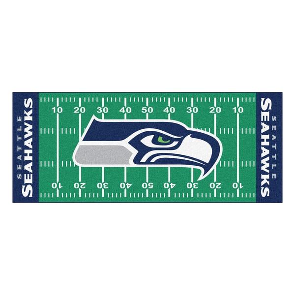 Fanmats Machine-made Seattle Seahawks Green Nylon Football Field Runner (2'5 x 6')