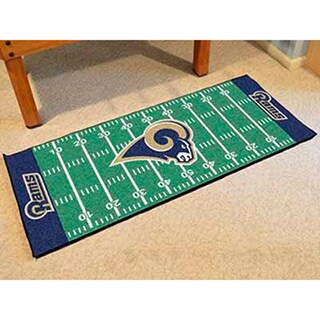 Fanmats Machine-made Los Angeles Rams Green Nylon Football Field Runner (2'5 x 6')