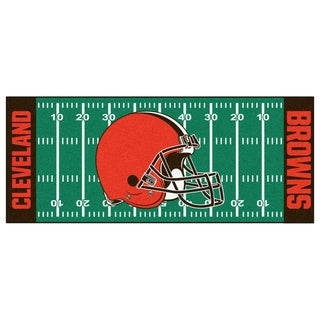 Fanmats Machine-made Cleveland Browns Green Nylon Football Field Runner (2'5 x 6')
