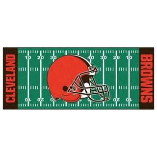 Fanmats Machine-made Cleveland Browns Green Nylon Football Field Runner (2'5 x 6')