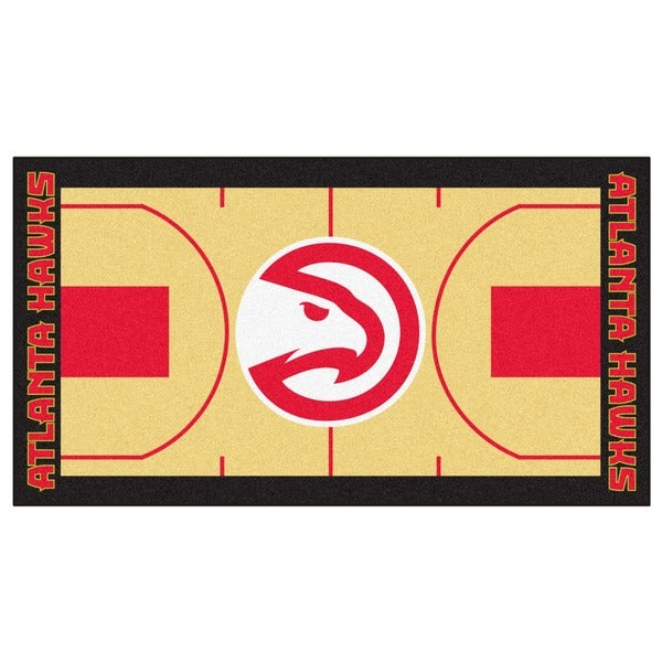 Fanmats Machine-made Atlanta Hawks Tan Nylon Large Court Runner (2'4 x 4'5)