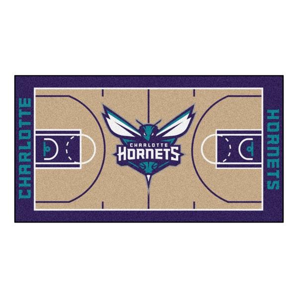 Fanmats Machine-made Charlotte Bobcats Tan Nylon Large Court Runner (2'4 x 4'5)