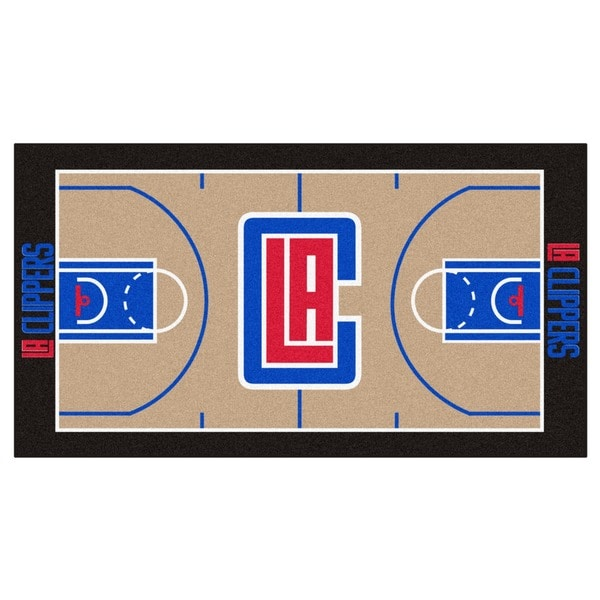 Fanmats Machine-made Los Angeles Clippers Tan Nylon Large Court Runner (2'4 x 4'5)