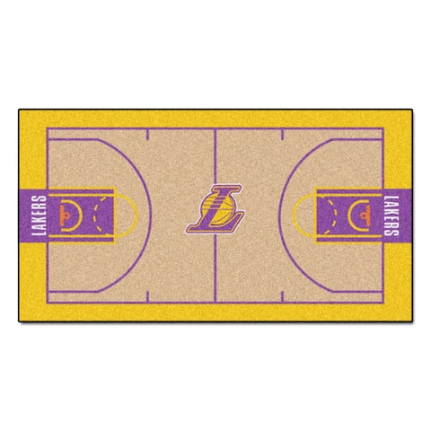 Fanmats Machine-made Los Angeles Lakers Tan Nylon Large Court Runner (2'4 x 4'5)