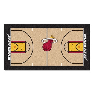 Fanmats Machine-made Miami Heat Tan Nylon Large Court Runner (2'4 x 4'5)