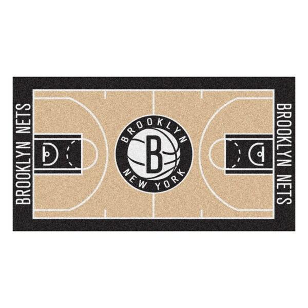 Fanmats Machine-made Brooklyn Nets Tan Nylon Large Court Runner (2'4 x 4'5)
