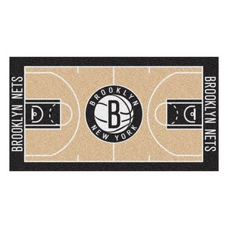Fanmats Machine-made Brooklyn Nets Tan Nylon Large Court Runner (2'4 x 4'5)