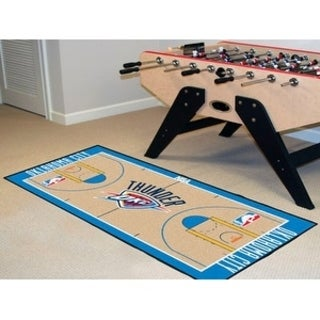 Fanmats Machine-made Oklahoma City Thunder Tan Nylon Large Court Runner (2'4 x 4'5)