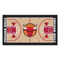 Fanmats Machine-made Chicago Bulls Tan Nylon Court Runner (2' x 3'6)