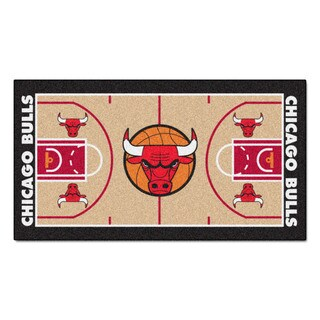 Fanmats Machine-made Chicago Bulls Tan Nylon Court Runner (2' x 3'6)