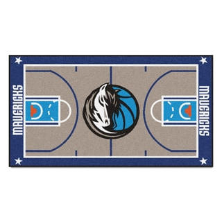 Fanmats Machine-made Dallas Mavericks Grey Nylon Court Runner (2' x 3'6)