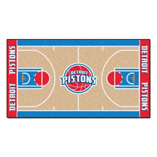 Fanmats Machine-made Detroit Pistons Tan Nylon Court Runner (2' x 3'6)