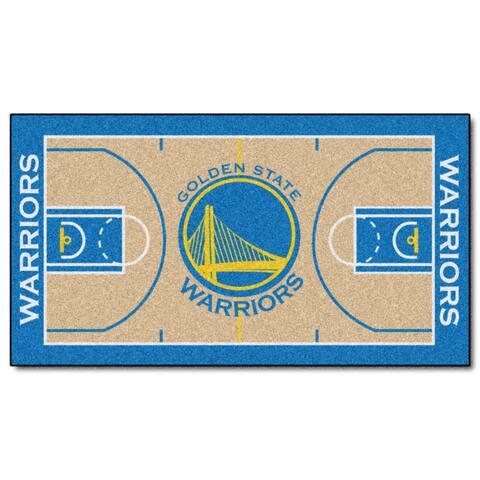 Fanmats Machine-made Golden State Warriors Tan Nylon Court Runner (2' x 3'6)