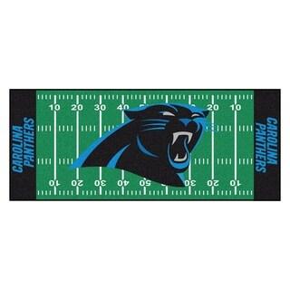 Fanmats Machine-made Carolina Panthers Green Nylon Football Field Runner (2'5 x 6')