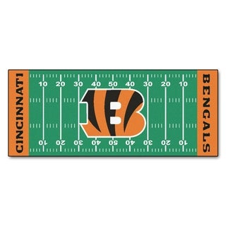 Fanmats Machine-made Cincinnati Bengals Green Nylon Football Field Runner (2'5 x 6')