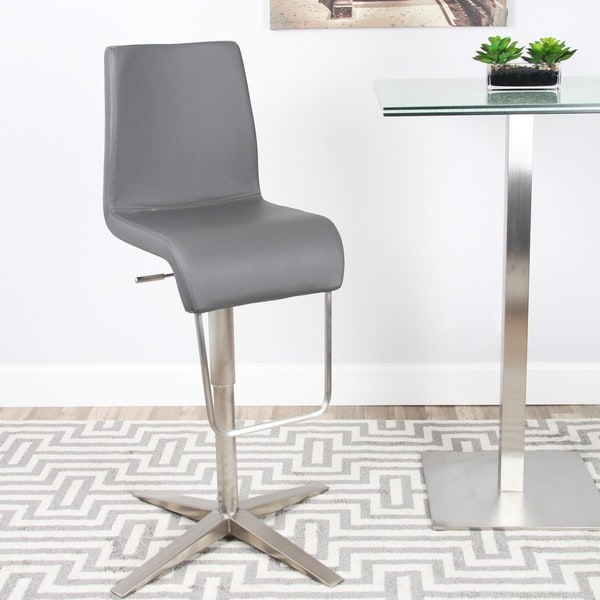 Brushed Stainless Steel X Base Adjustable Height Swivel