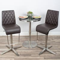 Brushed Stainless Steel Diamond Pattern High-back Adjustable Height Swivel X Base Bar Stool