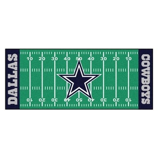 Fanmats Machine-made Dallas Cowboys Green Nylon Football Field Runner (2'5 x 6')