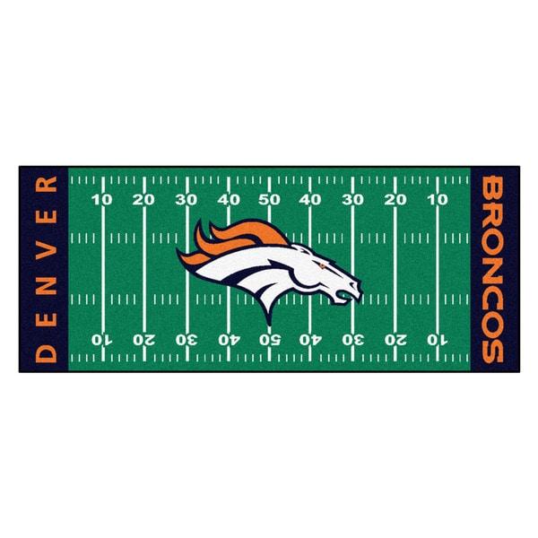Fanmats Machine-made Denver Broncos Green Nylon Football Field Runner (2'5 x 6')
