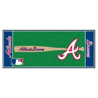Fanmats Machine-made Atlanta Braves Green Nylon Baseball Runner (2'5 x 6')