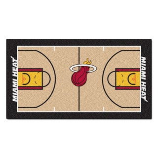 Fanmats Machine-made Miami Heat Tan Nylon Court Runner (2' x 3'6)