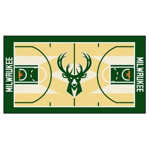Fanmats Machine-made Milwaukee Bucks Tan Nylon Court Runner (2' x 3'6)