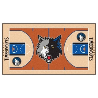 Fanmats Machine-made Minnesota Timberwolves Grey Nylon Court Runner (2' x 3'6)