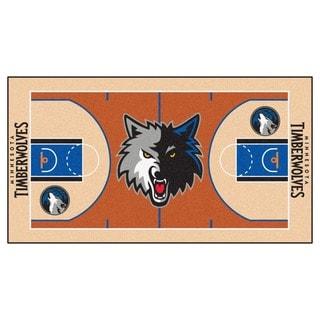Fanmats Machine-made Minnesota Timberwolves Grey Nylon Court Runner (2' x 3'6)