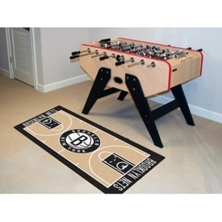 Fanmats Machine-made Brooklyn Nets Tan Nylon Court Runner (2' x 3'6)