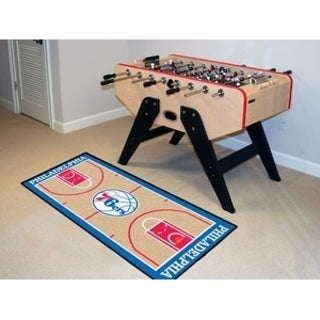 Fanmats Machine-made Philadelphia 76ers Tan Nylon Court Runner (2' x 3'6)