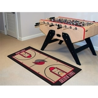 Fanmats Machine-made Portland Trailblazers Tan Nylon Court Runner (2' x 3'6)
