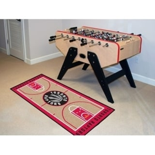 Fanmats Machine-made Toronto Raptors Tan Nylon Court Runner (2' x 3'6)