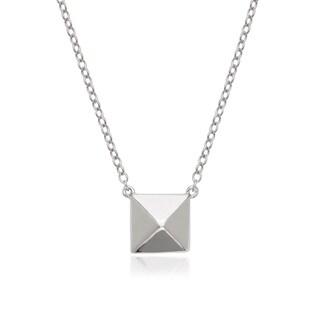 La Preciosa Sterling Silver Pyramid-Style Square Necklace