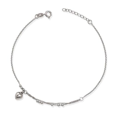 La Preciosa Sterling Silver Heart Charm and Beads Anklet
