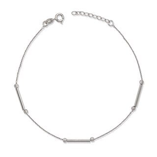 La Preciosa Sterling Silver Bar and Bead Anklet