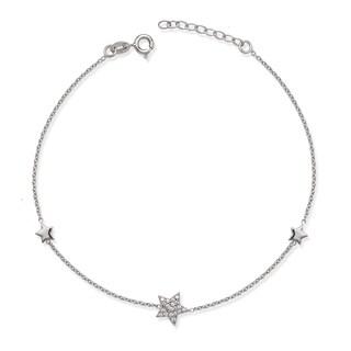 La Preciosa Sterling Silver Cubic Zirconia Star Anklet