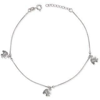 La Preciosa Sterling Silver Elephant Charms Anklet