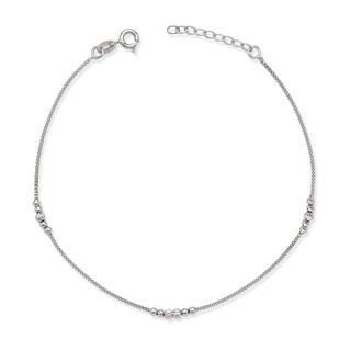 La Preciosa Sterling Silver Diamond-cut Bead Anklet