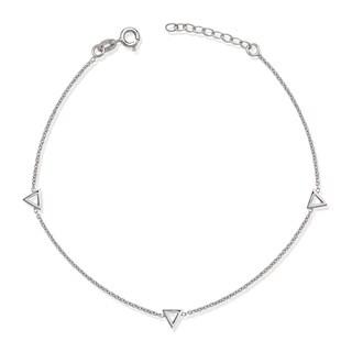 La Preciosa Sterling Silver Open Triangles Anklet