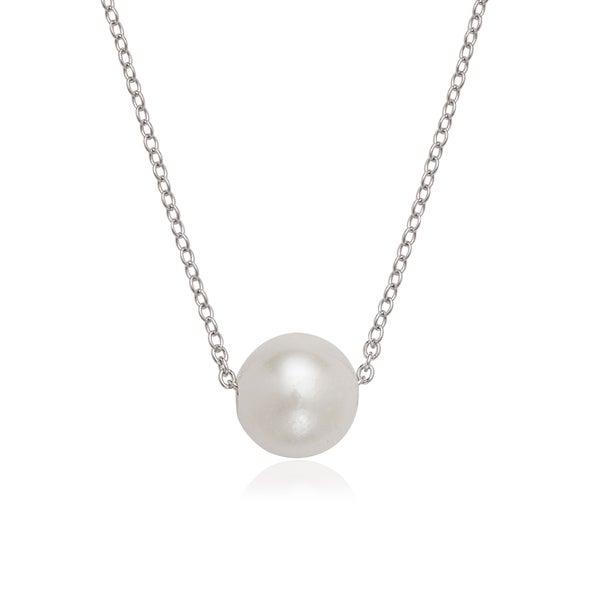 La Preciosa Sterling Silver Threaded Freshwater Pearl Necklace (9-10mm)