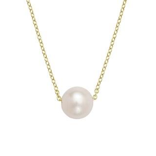 La Preciosa Sterling Silver Threaded Freshwater Pearl Necklace (9-10mm) (Option: Yellow)