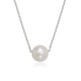 La Preciosa Sterling Silver Threaded Freshwater Pearl Necklace (9-10mm)