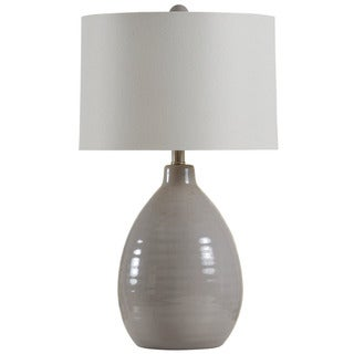 StyleCraft Cool Gray Gourd Table Lamp