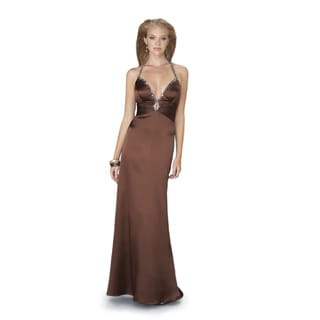 Women's Low V-neck Criss-cross Back Beaded Strap Long Satin Gown
