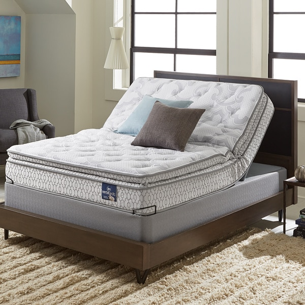Serta Extravagant Pillow Top King Size Mattress Set With Elite Pivot Adjule Foundation