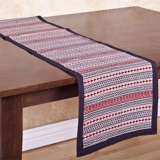 Maroon and Black Patterned Handmade Table Runner