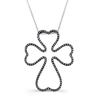 Sterling Silver 2/5ct TDW Diamond Outline Cross Necklace (J-K, I2-I3)