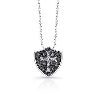 Victoria Kay Sterling Silver 1/6ct TDW Brown Diamond Shield Cross Necklace