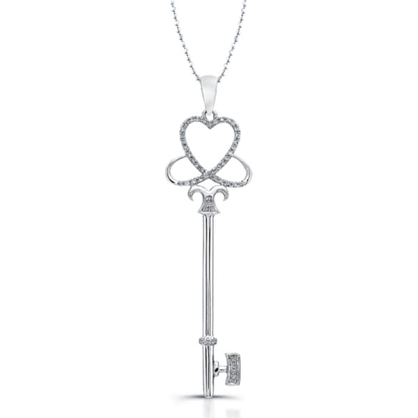 7c70ae3e4 Victoria Kay Sterling Silver 1/6ct TDW Diamond Key Necklace (J-K, I2-